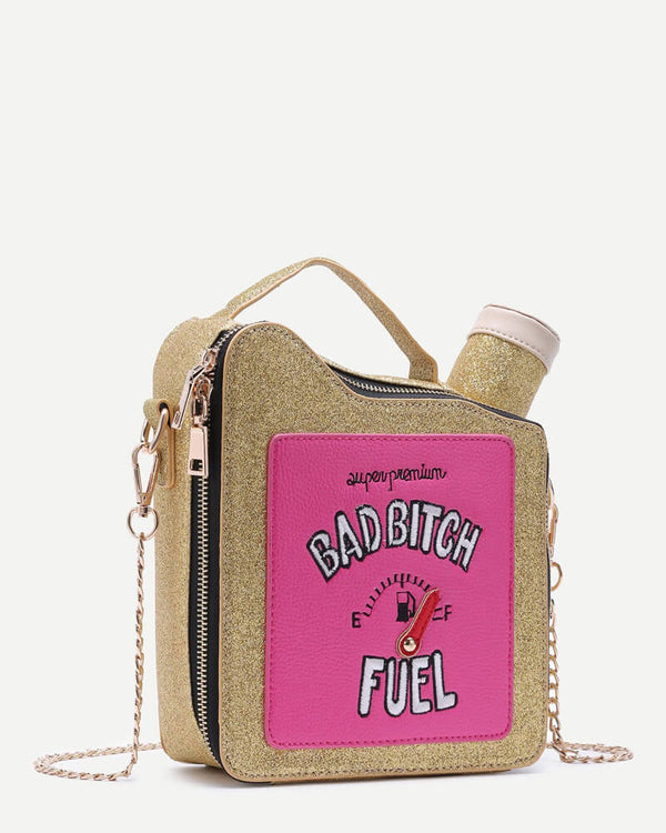 Gas Fuel Tank Shape Crossbody Handbag - Gold | Flirtyfull.com
