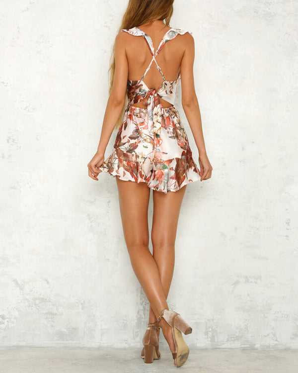 Gold Mine Satin Criss Cross Playsuit | Flirtyfull.com