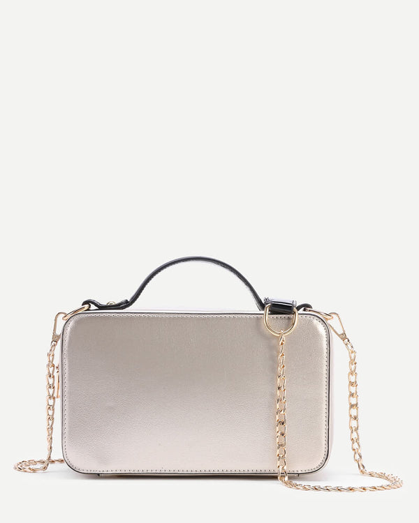 Flirtyfull Gold Radio Shape Handbag Crossbody with a Chain Bag