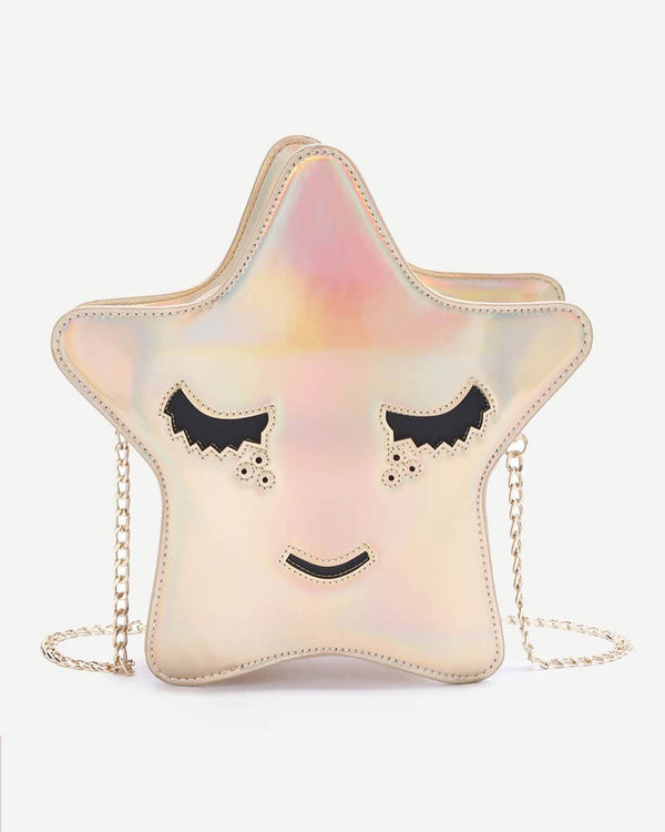 Flirtyfull Gold Star Shape Crossbody Messenger Kawaii Bag