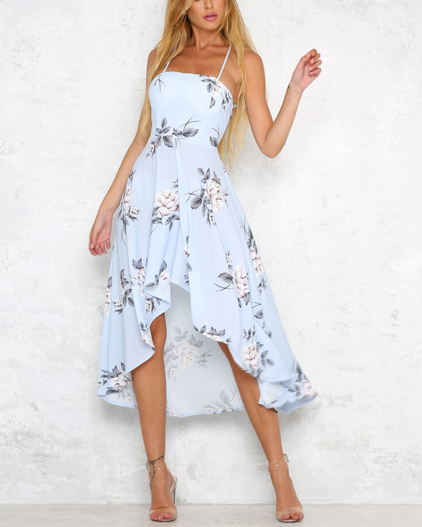 Gravity Asymmetrical Lace Up  Midi Dress - Blue | Flirtyfull.com