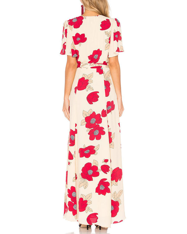 Hayden Boho Floral Wrap Dress - Red | Flirtyfull.com
