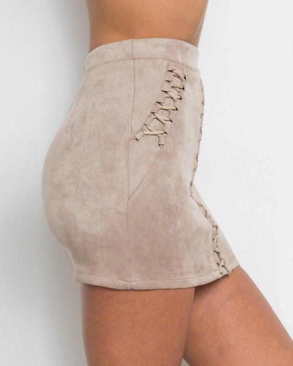 Heartbeat Lace Up Suede Mini Skirt - Nude Pink | Flirtyfull.com