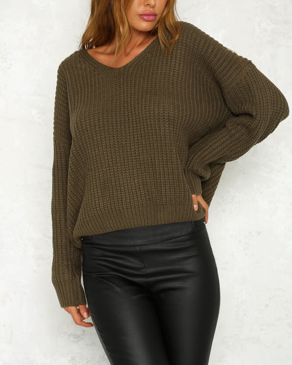 Hot Cocoa Lace Up Back Sweater - Army Green | Flirtyfull.com