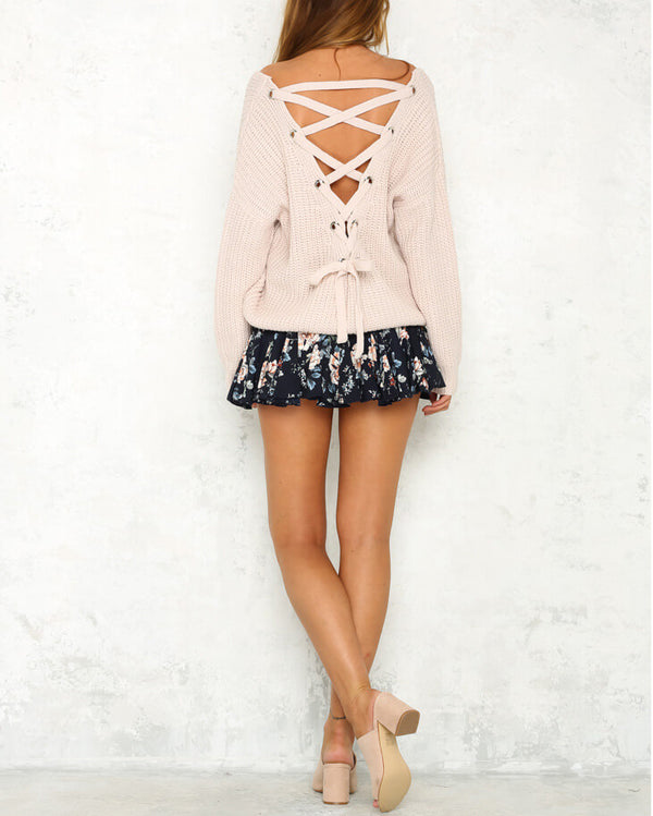 Hot Cocoa Lace Up Back Sweater - Pink | Flirtyfull.com