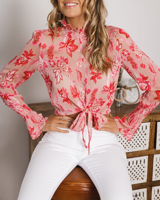 House of Cards Floral Long Sleeve Chiffon Top - Pink | Flirtyfull.com