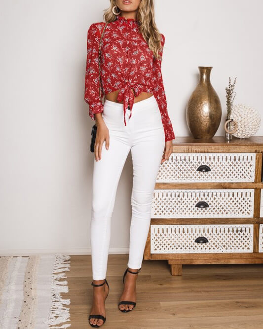House of Cards Floral Long Sleeve Sheer Top - Red | Flirtyfull.com