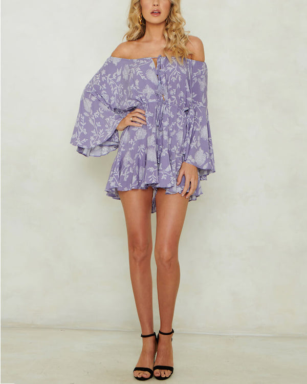 Houston Floral Print Boho Playsuit - Purple | Flirtyfull.com