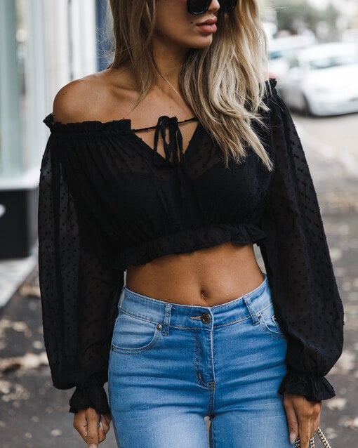Huggin & Kissin Sheer Crop Top - Black | Flirtyfull.com