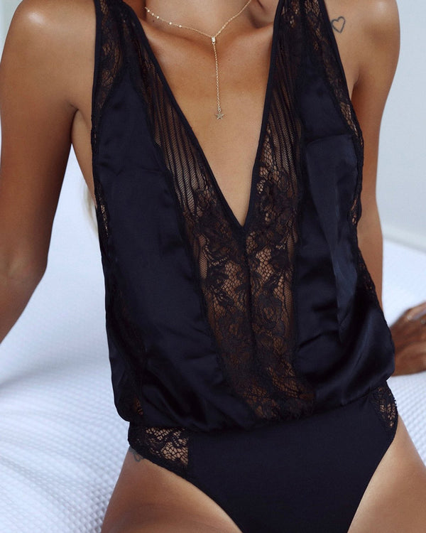 I Got This Satin Bodysuit - Black | Flirtyfull.com