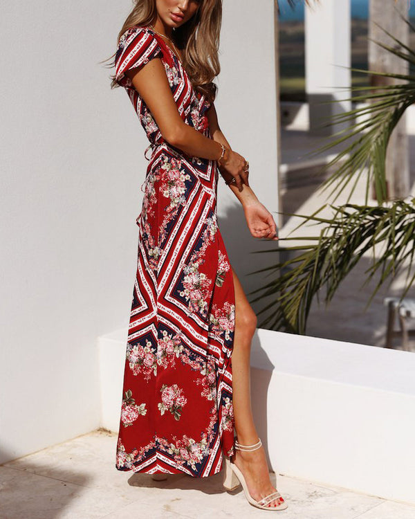 In Our Stars Boho Floral Maxi Dress - Red | Flirtyfull.com