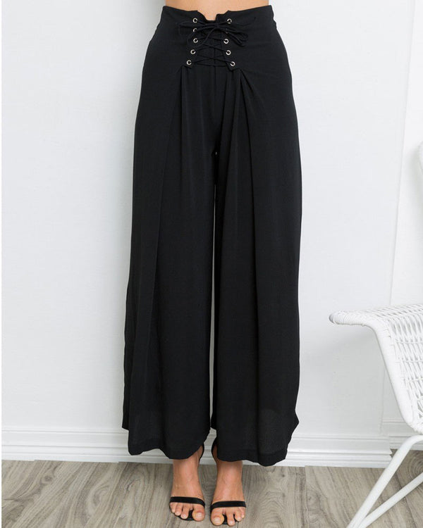 Inmortale High Waisted Wide Leg Pants - Black | Flirtyfull.com
