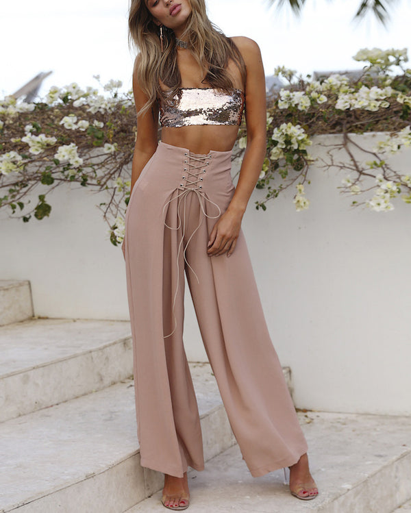 Inmortale High Waisted Wide Leg Pants - Pink | Flirtyfull.com