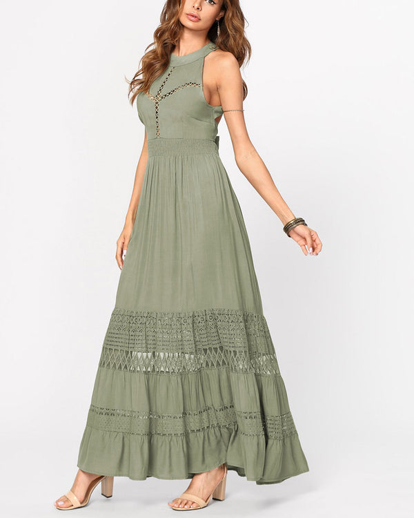 Ivy Halter Maxi Dress - Army Green | Flirtyfull.com