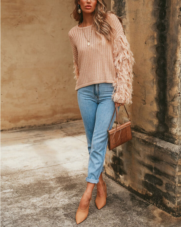 Joy Long Sleeve Knitted Sweater - Pink | Flirtyfull.com