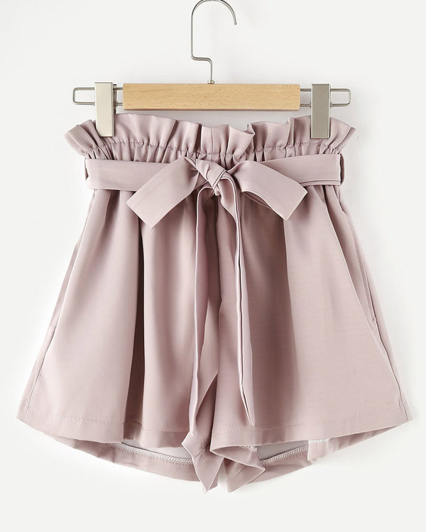 Julie High Waisted Shorts with Sashes - Pink | Flirtyfull.com