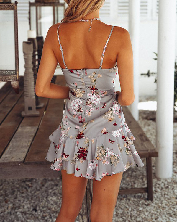 Just Like Heaven Floral Ruffle Mini Dress - Grey | Flirtyfull.com