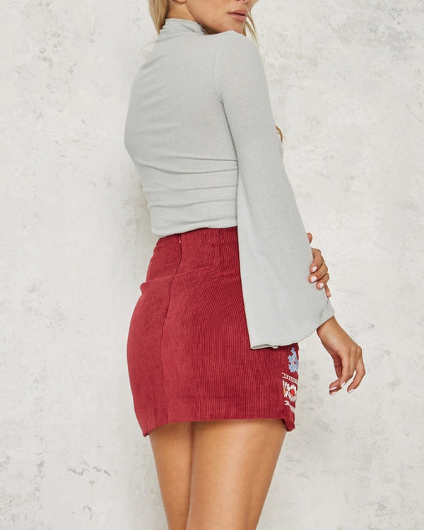 Kathmandu Embroidery Skirt - Dark Red | Flirtyfull.com
