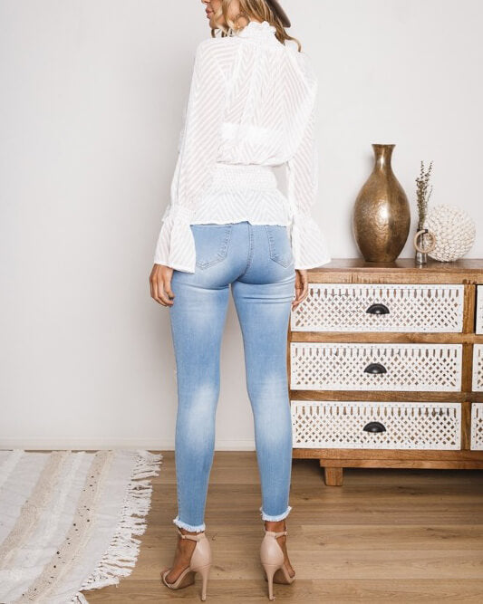 Know You Better Peplum Sheer Blouse - White | Flirtyfull.com