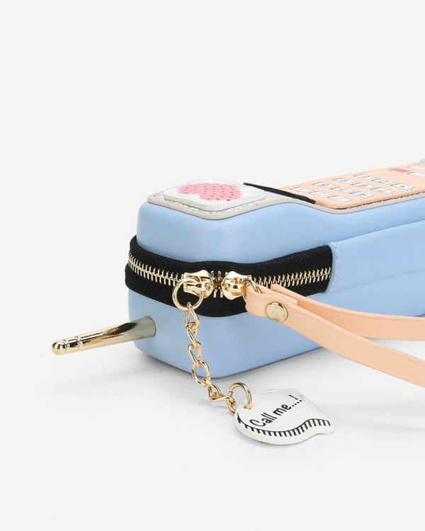 Flirtyfull Light Blue Retro Phone Kawaii Novelty Bag