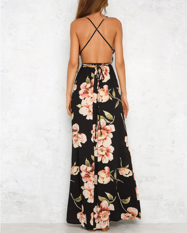 Lights Down Sexy Floral Boho Maxi Dress - Black | Flirtyfull.com