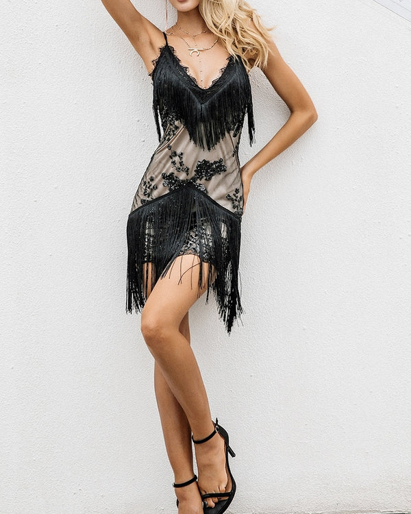 Lilith Tassel Sequined Dress - Black | Flirtyfull.com