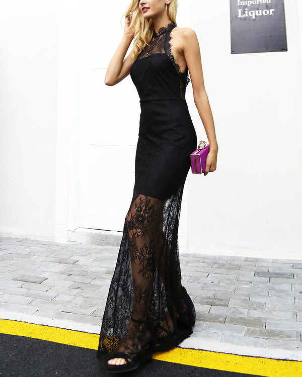 Little Mermaid Backless Evening Dress - Black | Flirtyfull.com