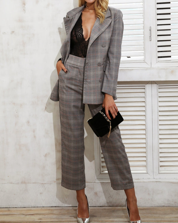 London Calling Plaid Boyfriend Blazer | Flirtyfull.com
