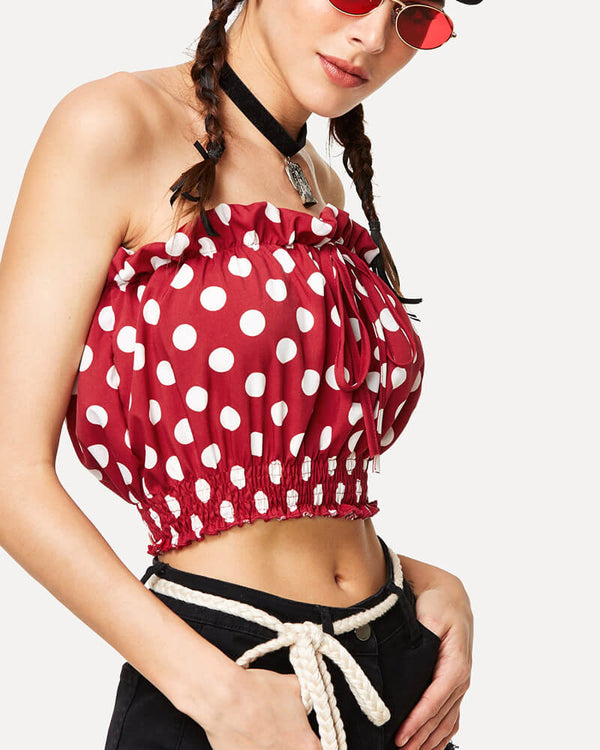 Love Myself Strapless Polka Dot Crop Top - Red | Flirtyfull.com