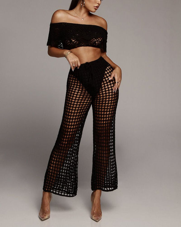 Lucky Hollow Out Crochet Knitted Pants - Black | Flirtyfull.com