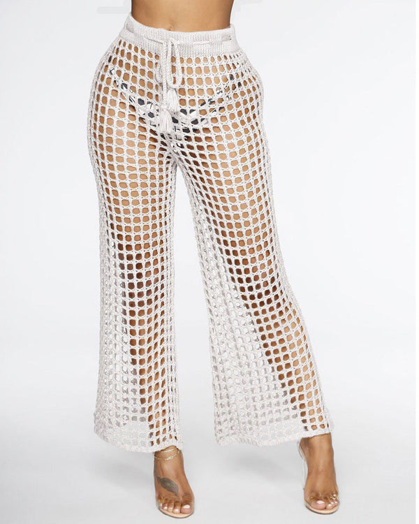 Lucky Hollow Out Crochet Knitted Pants - White | Flirtyfull.com