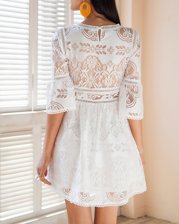 Mali Half Sleeve Lace Dress - White | Flirtyfull.com