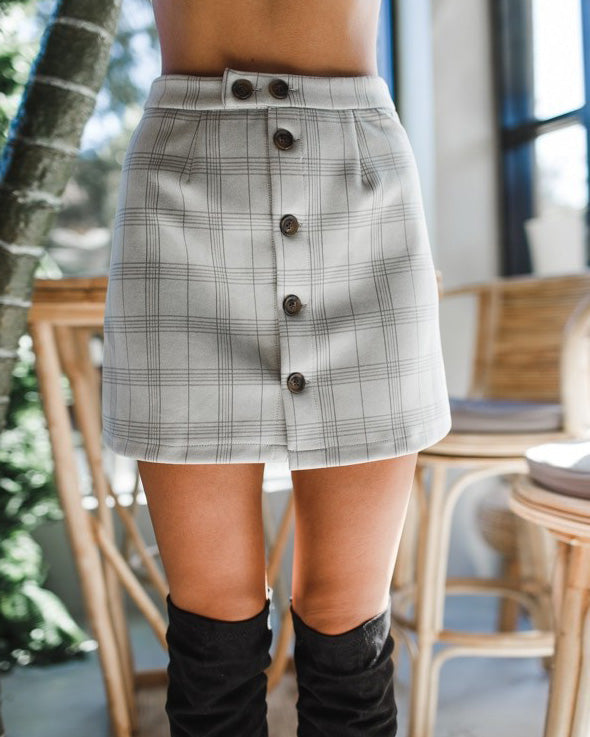 Manchester Vintage Plaid Mini Skirt - Grey | Flirtyfull.com