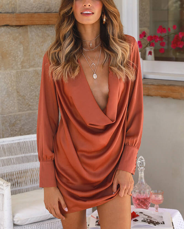 Marcie Draped Sexy Mini Dress - Orange | Flirtyfull.com