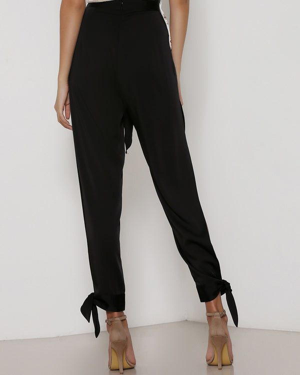 Marley Harem Pants with Split - Black | Flirtyfull.com