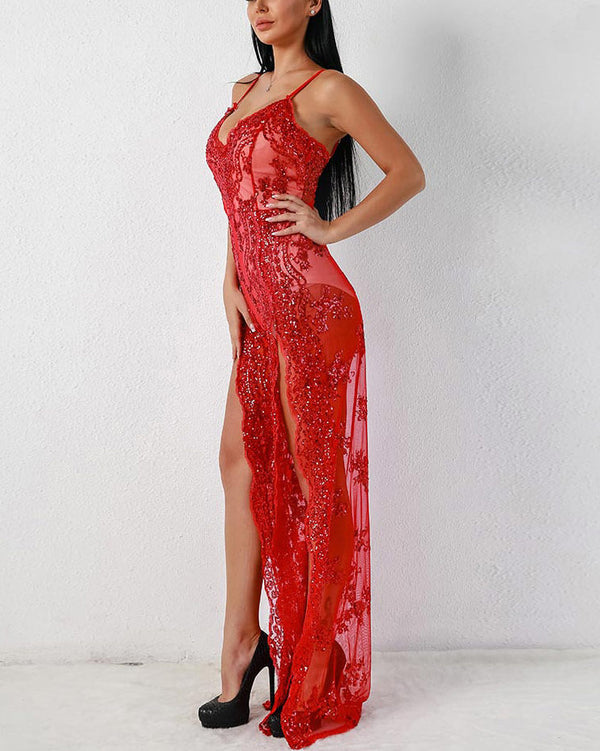 Milan Embroidery Sequined Jumpsuit - Red | Flirtyfull.com