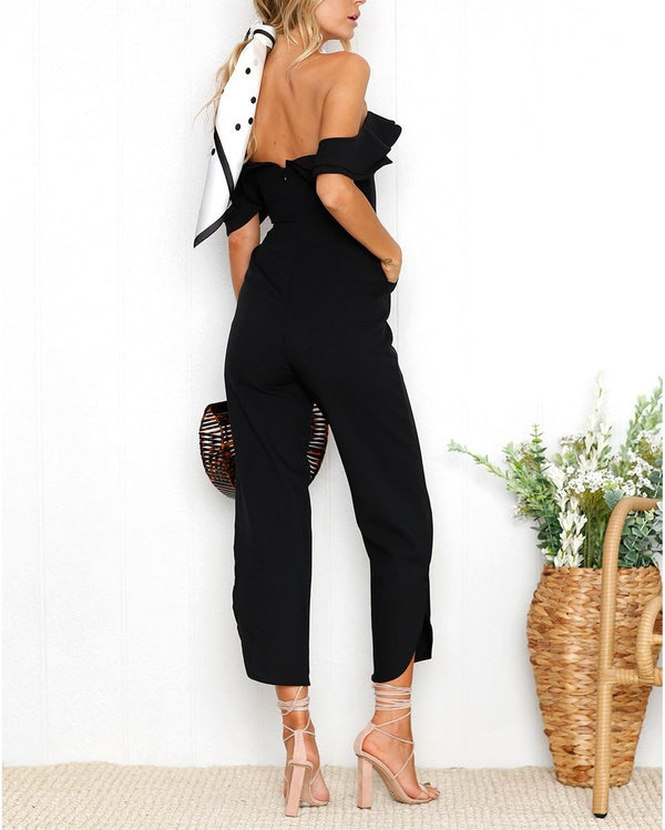 Milky Way Off the Shoulder Jumpsuit - Black | Flirtyfull.com