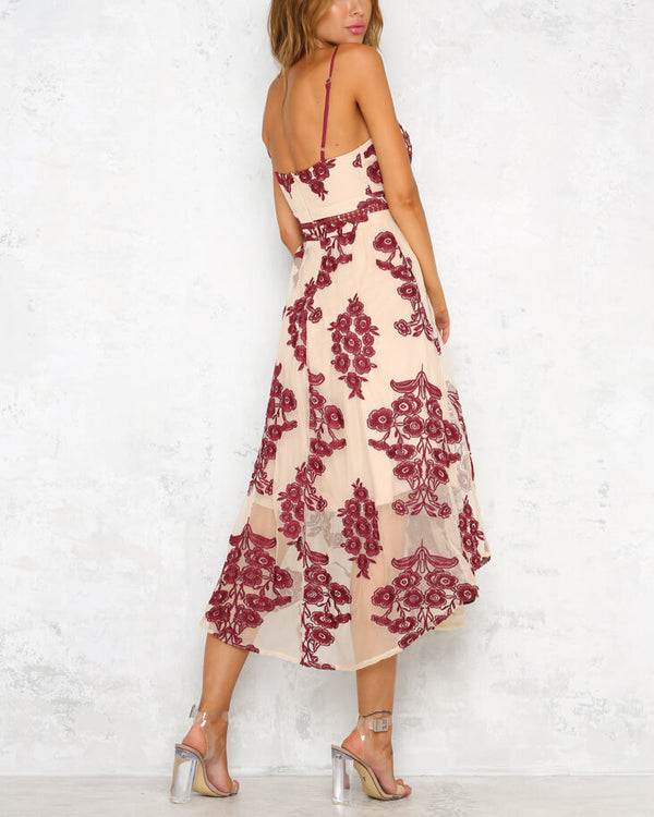 Moondust Floral Embroidery Midi Dress - Red | Flirtyfull.com