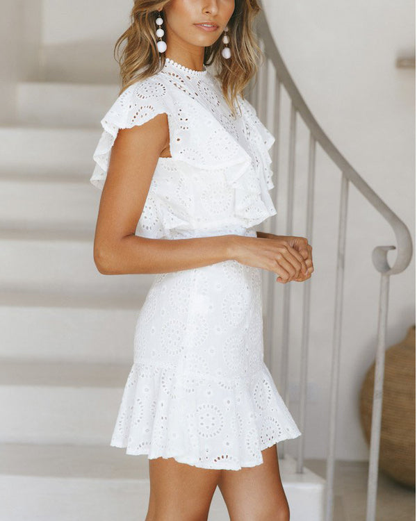 Nazca Hollow Out Dress with Chest Ruffles - White | Flirtyfull.com
