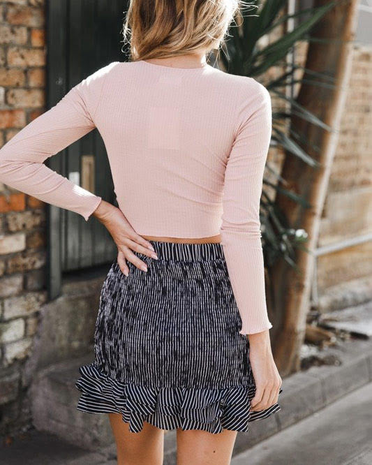 Never Be lIke You Knitted Crop Drawstring Blouse - Pink | Flirtyfull.com