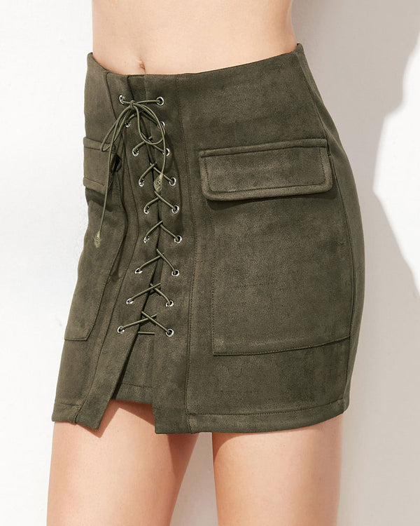 Nillionare Sexy Lace Up Suede Mini Skirt with Pockets - Army Green | Flirtyfull.com