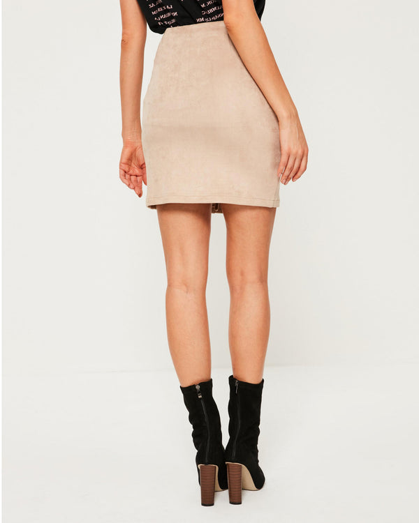 Nillionare Sexy Lace Up Suede Mini Skirt with Pockets - Beige | Flirtyfull.com