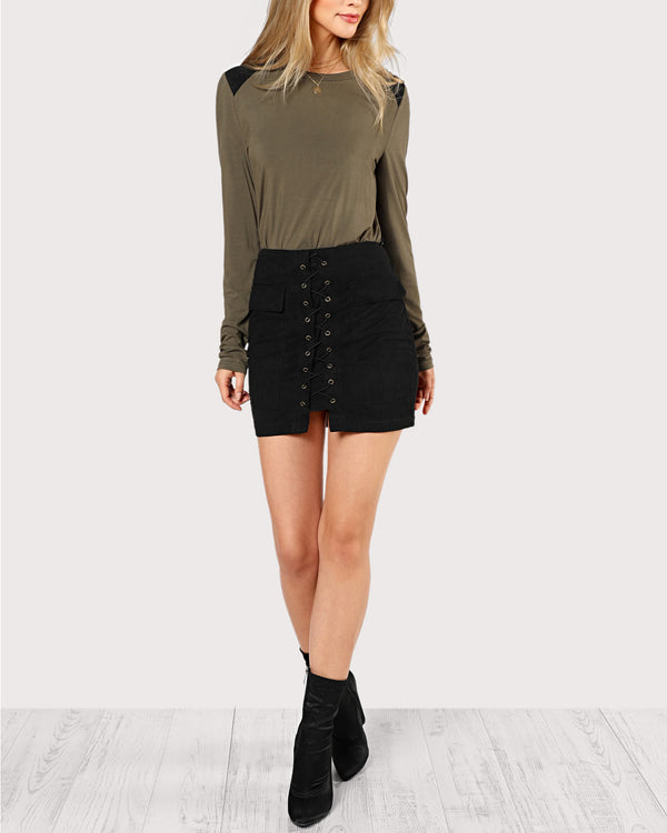Nillionare Sexy Lace Up Suede Mini Skirt with Pockets - Black | Flirtyfull.com
