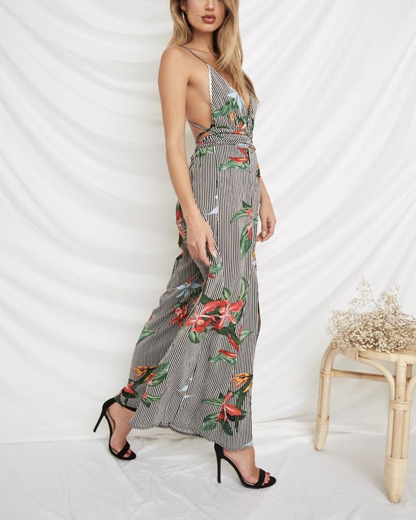 Nothing in this World Tropical Boho Backless Jumpsuit | Flirtyfull.com