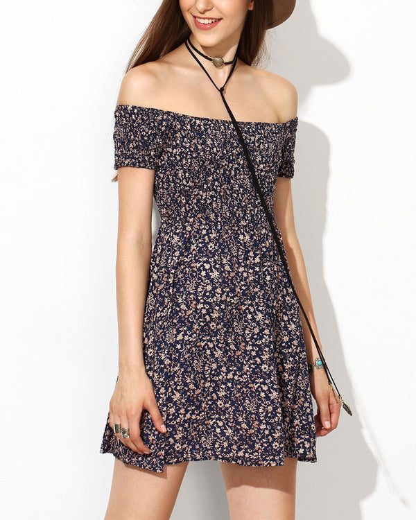 Oasis Elastic Summer Dress - Navy | Flirtyfull.com