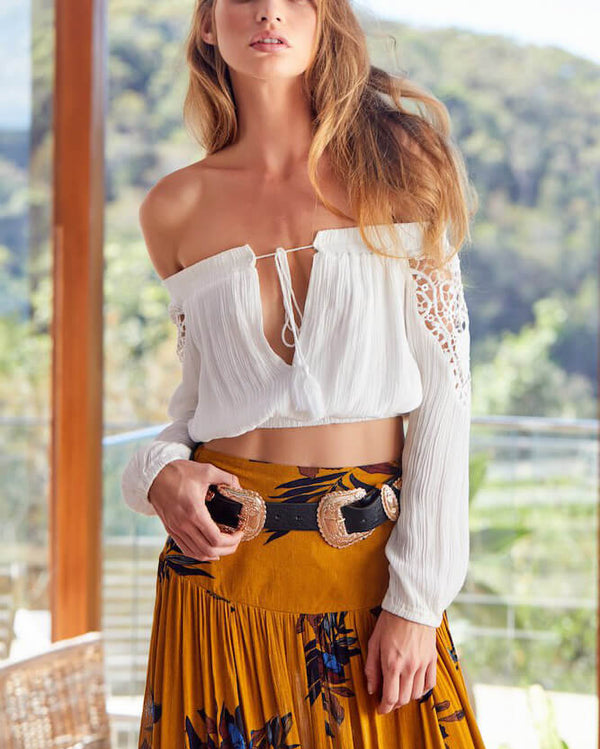 Ocean Breeze Off the Shoulder Blouse - White | Flirtyfull.com