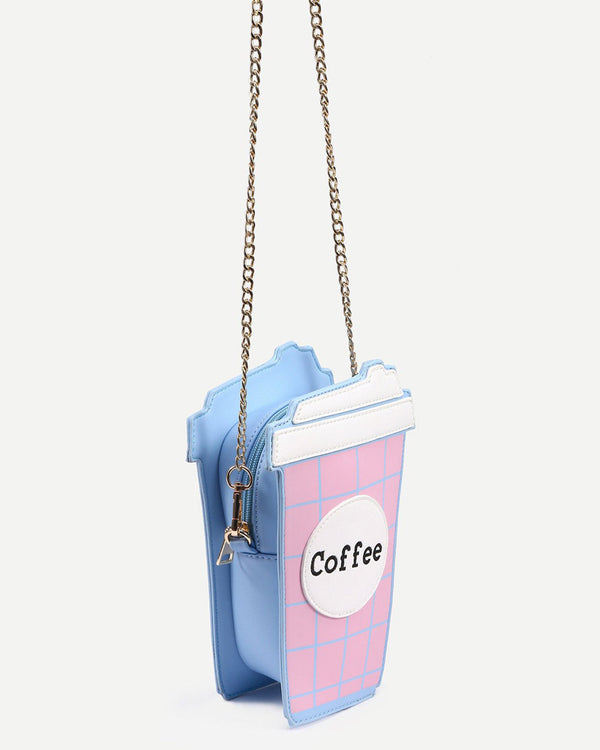 Coffee Shape Crossbody Kawaii Novelty Bag - Pink | Flirtyfull.com