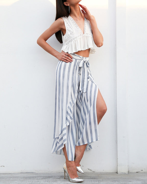 Paxton Stripe Wide Leg Pants - Blue | Flirtyfull.com
