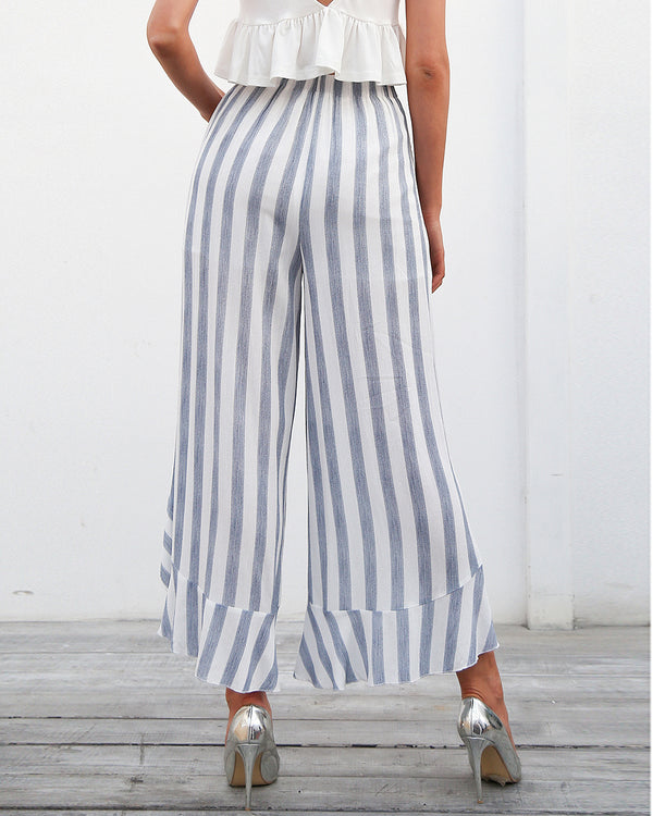 Flirtyfull Paxton Blue Stripe Wide Leg Pants