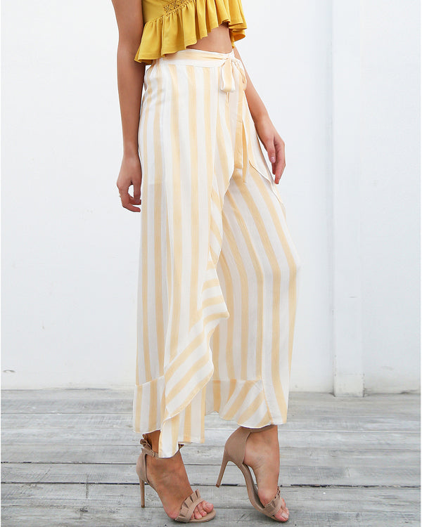 Flirtyfull Paxton Yellow Stripe Wide Leg Pants